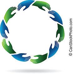 Hands reaching hands Logo