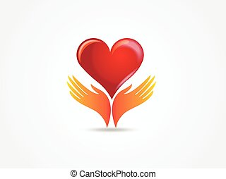 Hands with a love heart logo vector