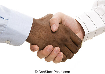 A close-up of two hands (different races) shaking