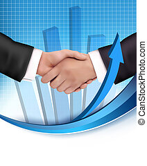 Handshake between business people with a graph in the background