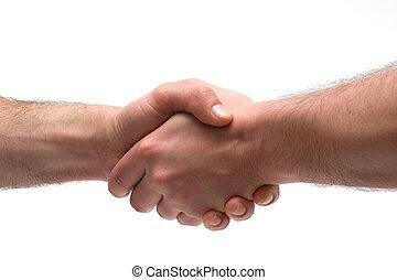 Handshake on white background