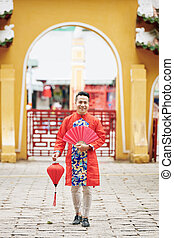 Vietnamese man in traditional clothes