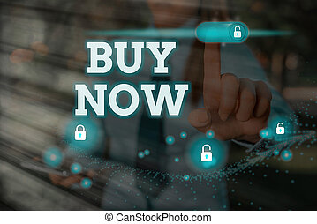 Handwriting text Buy Now. Concept meaning asking someone to purchase your product Provide good Discount.