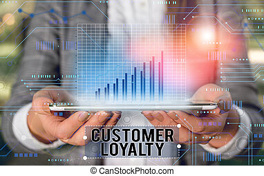 Handwriting text writing Customer Loyalty. Concept meaning customers are devoted to a company s is products or services.