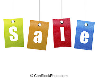Orange, green, blue and red hanging sale advertisement over white background.
