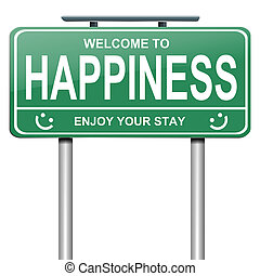 Illustration depicting a green roadsign with a happiness concept. White background.