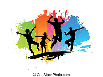 Active jumping people. Vector Illustration.