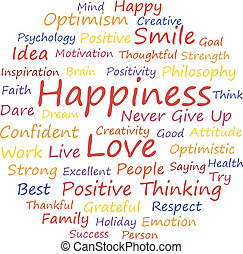 Happiness word cloud concept, a vector illustration.