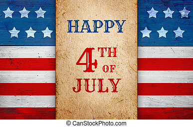 Fourth of July patriotic banner, old paper over american flag background