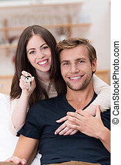 Happy affectionate young couple