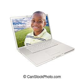 Happy African American Boy in Laptop