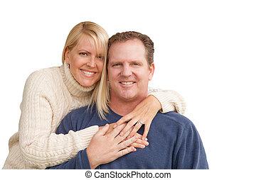 Happy Attractive Caucasian Couple on White