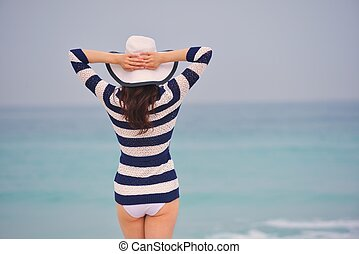 Happy Beautiful Woman Enjoying Summer Vacation