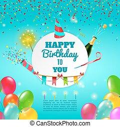 Happy birthday celebration background poster