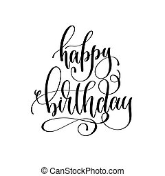 happy birthday - holiday banner, black and white hand lettering