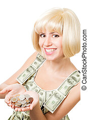 Happy blond woman with hollow of coins