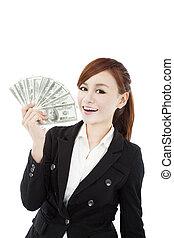 happy businesswoman with money