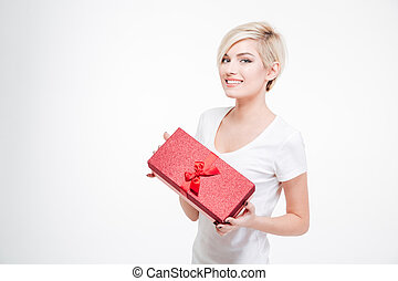 Happy charming woman holding present gift box