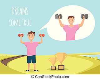Happy Child Standing Training Bodybuilding Outdoor