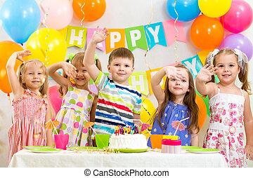 happy children celebrating birthday holiday