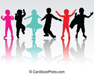 Happy children silhouettes