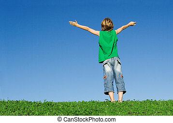 happy christian kids arms raised in joy and faith