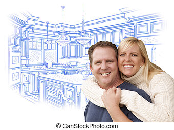 Happy Couple Hugging with Custom Kitchen Drawing Behind