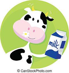 Vector illustration of happy cartoon cow with milk.