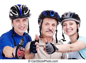 Happy cyclists family