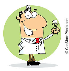 Caucasian Cartoon Dentist Man Holding A Pulled Tooth