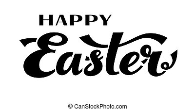 Happy Easter. Black and white vector lettering