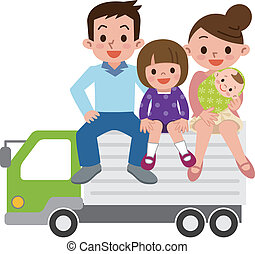 Happy Family and truck