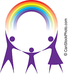 Happy family holding a rainbow in your hands.