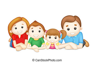 illustration of 3d happy family in vector laying on floor