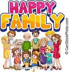 Happy family member character illustration
