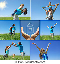 happy family outdoor in summer - collage