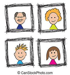 Happy family portrait sketch