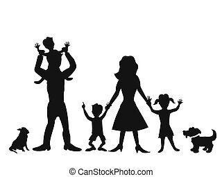 silhouettes of happy family on white background