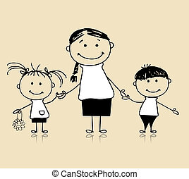 Happy family smiling together, mother and children, drawing sketch