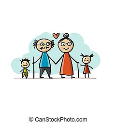 Happy family together, grandparents and grandchildrens. Sketch for your design
