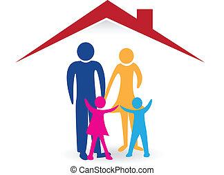 Happy family with new house logo vector