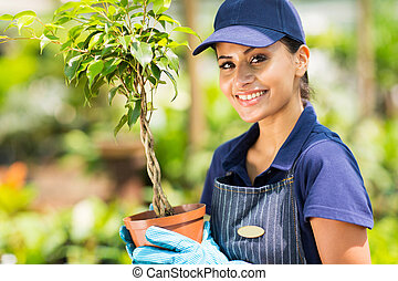 female nursery worker holding potted plant