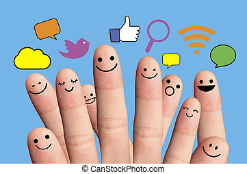 Happy group of finger smileys with social chat sign and speech bubbles. Social network concept.