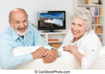 Happy friendly elderly couple