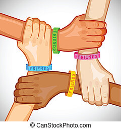 illustration of hand of multiracial people wearing friendship band