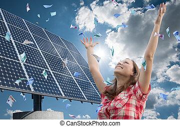 happy girl, money and renewable energy