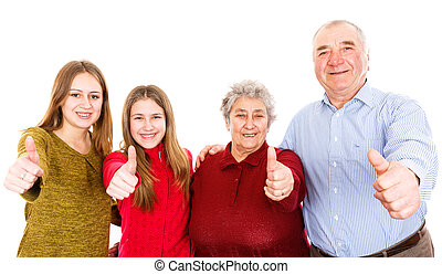 Happy grandparents and granddaughters