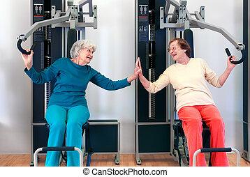Happy Grannies Enjoying Chest Press Exercise