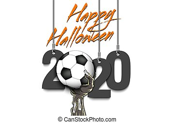 Happy Halloween. 2020 and zombie hand with a soccer ball