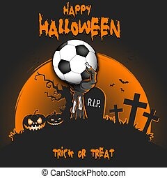 Happy Halloween. Zombie hand with a soccer ball